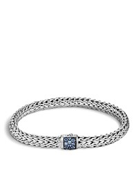 John Hardy Classic Chain Sterling Silver Small Bracelet With Blue Sapphire Clasp Blue Silver