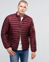 Asos Quilted Jacket With Funnel Neck In Burgundy Burgundy Red