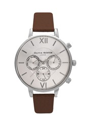 Topshop Olivia Burton Chrono Detail Brown And Silver Watch