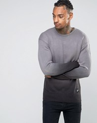 Sixth June Dip Dye Jumper With Dropped Shoulder Black