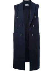 22 4 By Stephanie Hahn Double Breasted Long Waistcoat Blue