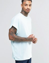 Asos Super Oversized T Shirt With Roll Sleeve In Blue Starlight Blue