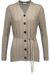 Brunello Cucinelli Bead Embellished Metallic Cashmere Blend Cardigan Taupe