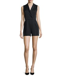 Alice Olivia Debby Sleeveless Tuxedo Romper Black