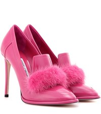 Jimmy Choo Lyza 110 Fur Trimmed Patent Leather Pumps Pink