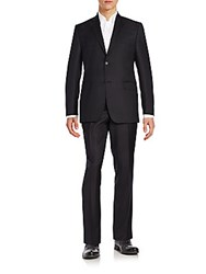 Saks Fifth Avenue Slim Fit Pinstriped Wool Suit Black