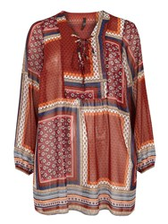 Evans Patchwork Print Lace Up Tunic Multi Coloured