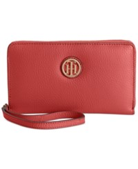 Tommy Hilfiger Pebble Leather Carryall Wristlet Tommy Red