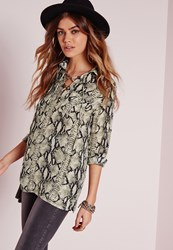 Missguided Snake Print Lace Up Blouse Multi Multi