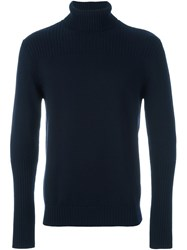 Eleventy Roll Neck Ribbed Sweater Blue