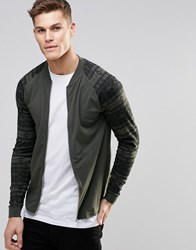 Asos Muscle Jersey Bomber Jacket With Aztec Printed Sleeves Forest Night Green