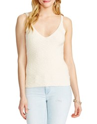 Jessica Simpson Roselle Ribbed Knit Crop Top Natural