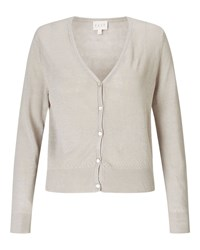 East V Neck Linen Cardigan Stone Blue