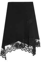 Givenchy Asymmetric Midi Skirt In Black Embroidered Tulle Trimmed Silk Crepe De Chine
