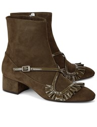 N 21 Green Front Frill Ankle Boots