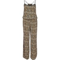 River Island Womens Brown Tribal Print Wide Leg Jumpsuit