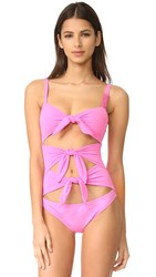 Moschino One Piece Cutout Swimsuit Pink