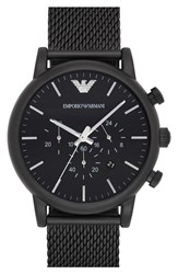 Men's Emporio Armani Chronograph Mesh Strap Watch 46Mm