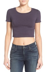 Junior Women's Bp. Stretch Cotton Crop Tee Navy Ev Zoe Stp