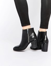 Faith Sandi Black Leather Zip Heeled Boots Black