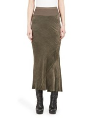 Rick Owens Bias Cut Calf Length Skirt Dark Dust