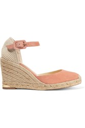 Paloma Barcelo Canvas Trimmed Suede Espadrille Sandals Nude