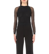 Roland Mouret Fitted Crepe And Lace Top Black