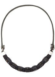 John And Pearl Dark Grey Ribbon Leather Necklace Charcoal