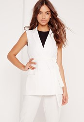 Missguided Sleeveless Double Breasted Tie Belt Jacket White Cream