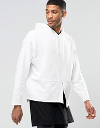 Asos Oversized Hoodie With Zip Detail And Raw Edges Off White