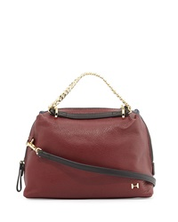 Halston Heritage Small Leather Satchel Bag Sangria Navy