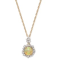 Bloomingdale's Opal Pendant Necklace With Diamond Halo In 14K Yellow Gold 18