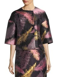 Emilio Pucci Cropped Three Quarter Sleeve Jacquard Jacket Nero Pink