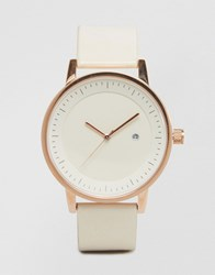 Simple Watch Company Swco Earl Leather Watch In White And Rose Gold White