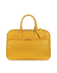 Giorgio Fedon Travel Yellow Leather Double Handle Carry On