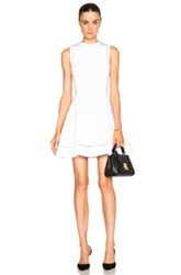 Victoria Beckham Dense Rib Ajoure Flare Mini Dress In White