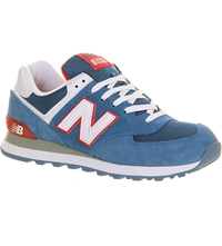 New Balance 574 Leather Trainers Blue Red White
