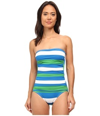 Tommy Bahama Rugby Bandeau One Piece Sailor Blue Women's Swimsuits One Piece