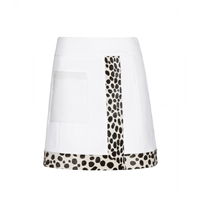 Edun Calf Hair Trimmed Cotton Miniskirt Optic White