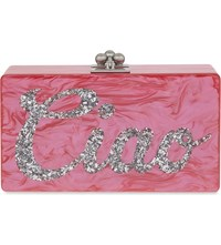 Edie Parker Jean Ciao Box Clutch Hot Pink W White Pearl