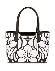 Calvin Klein Saffiano Leather Embellished Tote Black White Floral