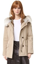 Army By Yves Salomon Short Classic Parka With Fur Sahara Natural