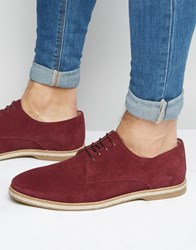 Asos Derby Shoes In Burgundy Suede With Jute Wrap Sole Burgundy Red