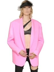 Faith Connexion Oversized Techno Crepe Satin Jacket Neon Pink