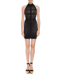 Balmain Stripe Knit Halter Dress Black