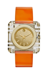 Tory Burch 'Izzie' Square Leather Strap Watch 36Mm Orange Gold