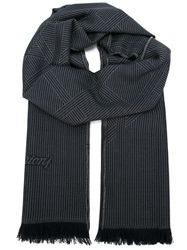 Brioni Striped Fringed Scarf Blue