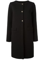 Douuod Collarless Welt Pocket Coat Black