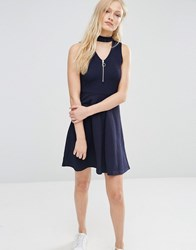 Daisy Street Zip Front Skater Dress Navy