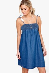 Boohoo Denim Tassel Trim Swing Dress Blue